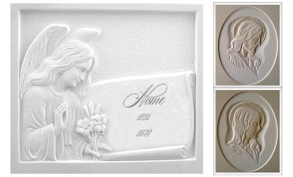 incisione lapide marmo granito scultura religiosa Cristo Madonna fiori pergamena nome